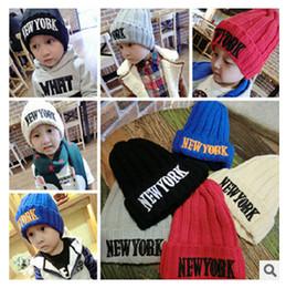 Wholesale Woolen Cap New - Baby Warm Woolen Hat 2015 NEW YORK Thickening Beanie Hat Pointy Hat Crochet Kids Baby Caps Knitted Woolen Baby Hats Fashion Hats m0584