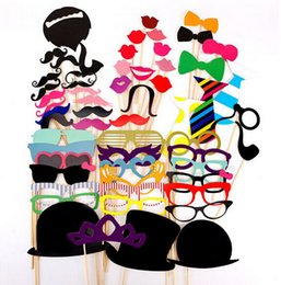 Wholesale Funny Pictures Cartoon - Creative Wedding Pictures Props Funny Product 58pcs set DIY Photo Booth Props Moustaches On A Stick Halloween Party Quality First YH016