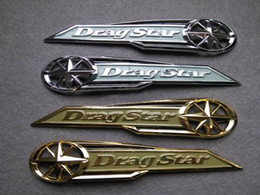 Wholesale Gold Chrome Sticker - Classic Chrome Dragstar Gas Tank Badge Emblem Badge Drag Star Decal Stickers for Yamaha Vstar XVS XV 400 650 Silver Gold