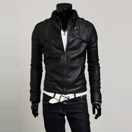 Wholesale Korean Leather Overcoat - Fall-new promotion PU leather jacket men's motorcycle coat fashion male overcoat,good quality Korean outwear latest style M-XXL mZJ