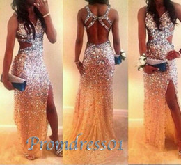 Wholesale Long Sheath Beaded Slit Dress - Luxury Beaded Sexy Prom Dresses High Quality Shining Long Prom Party Dresses With Cross Back Side Slit Formal Evening Dress For Women