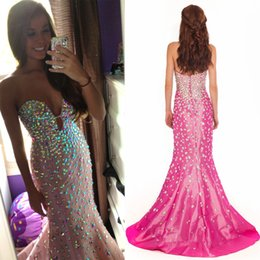 Wholesale Shining Mermaid Sweetheart Evening Dresses - Attractive Sexy Evening Prom Dresses 2016 robe de soiree Sparkly Crystal Beaded Mermaid African Formal Party Dress V Neck Shining Rhinestone