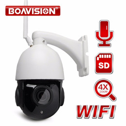 Wholesale Pan Tilt Security Cameras - Wireless PTZ Speed Dome 1080P IP Camera WIFI Outdoor 4X Zoom CCTV Security Video Network Camera Audio Talk,Speaker SD Card