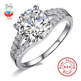 Wholesale Cubic Zirconia Sale - Free Shipping ! Hot Sale Classic Luxury Wedding Rings For Women With 100% S925 Silver Ring Top AAA CZ Diamond Woman Engagement Ring ZJ29