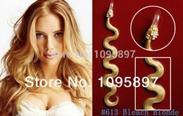 Wholesale Curly European Color 613 - New 2015 curly micro loop hair extensions Free Shipping nano loop #613 Bleach Blonde Body Wave Brazilian Human Hair 100g