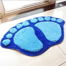 Wholesale Door Carpets - Wholesale new disign cute cartoon feet 60*40cm Textile Blanket Rugs Bedroom Floor Carpets Living Room Mat Bathroom Door pad home decorative