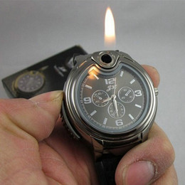 Wholesale Analog Gas - 2015 Military Lighter Watch Novelty Man Quartz watches Sports Refillable Gas Cigarette Cigar Men's Watches Luxury Brand Gift Retail Box