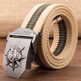 Fashion Men s Canvas Belt Skull Metal Tactics Woven Belt Canvas Belt Casual Pants Cool Wild Gift For Men Belts Skull Large Size