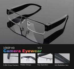 Canada 1080p lunettes caméra portable auio enregistreur vidéo Full HD lunettes mini dvr V13 caméra support lunettes carte TF 10pcs / lot cheap v13 eyewear Offre