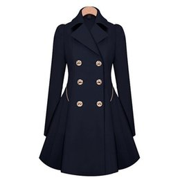 Wholesale Skirted Trench - Wholesale- 2017 New Arrival Aowofs Streetwear Broadcloth Full Long Turn-down Collar Double Breasted Skirt Solid Trench