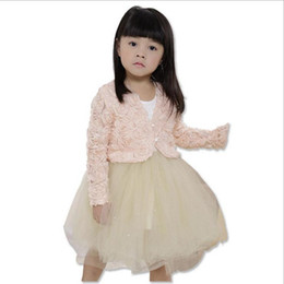 Wholesale Girls Cardigan Flowers Kids Outwear - 2015 new girls flower outwear baby girl 3D rose jacket children spring fall wear tops girl cute pink shawl kid long sleeve Cardigan coat