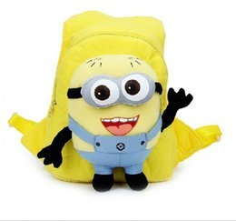 Wholesale Despicable Minion Plush Wholesale - Christmas gift cute despicable me children backpack cap hat pp plush minions toy children's bag pack school bag with high quality free