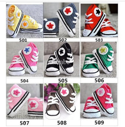 Wholesale Crochet Shoes Sneakers - Baby crochet sneakers first walk shoes kids sport 22colors handmade tennis booties cotton 0-12M 15pairs lot custom