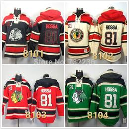 Sudadera de encaje de hockey online-30 equipos-Venta al por mayor nuevo barato cosido chicago blackhawks # 81 Marian Hossa Lace Up Pullover Hoodies de hockey sobre hielo de los hombres / Sudaderas con capucha