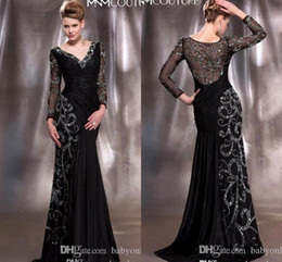 Wholesale Elegent Green Dress - 2015 Fall Winter Balck Mother Of The Bride Dresses Bateau Long Sleeve Elegent Applique Lace Mermaid Vintage Evening Dresses With Lace