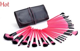 Wholesale Womans Nylons - Womans Rose Brushes 32 Pcs Make Up Tools Pincel Maquiagem Professional Superior Soft Cosmetic Makeup Brush Set Kit with Pouch Bag SV009568