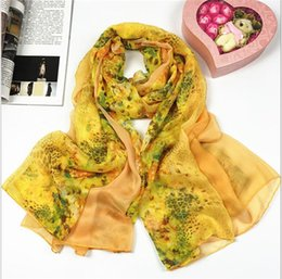 Üretici toptan Sonbahar yaz yeni ürünler bayanlar çiçek dijital şifon baskılar, ipek eşarp şal nereden dijital baskı ipek eşarplar tedarikçiler