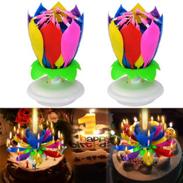 Wholesale Happy Birthday Candles Wholesale - 2pcs  Set Fashion Amazing Romantic Musical Lotus Rotating Happy Birthday Wedding Candle Magical Sparklers For Party Gift