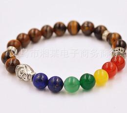 Wholesale Wholesale Buddha Products - 7 Chakra Buddha Bracelet 2015 New Products Wholesale 8mm Natural Tiger Eye Stone Beads Yoga Meditation Energy Jewelry-J733