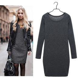 Wholesale Vestido Casual Inverno - Plus Size Women Winter Dress 2015 Fleece Warm Slim Casual Dress Autumn Velvet Long Sleeve Women Dress Vestido De Inverno Black