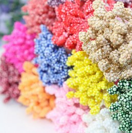 Wholesale New Flower Stamen - 6%off! 2015 New Arrival 5mm white Foam flower stamen pistil cake decoration craft DIY hot sales Free shipping 1800pcs Lot