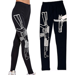 Wholesale Free Knitting Machine - Personalized Black Elastic Cotton Sport Leggings Machine Gun Pattern Printed Gym Fitness work out leggings Slim Pants 68YH