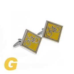 Wholesale Wholesale Classic Signs - High Quality New Classic Silver Copper Mens Wedding Cufflinks Novelty Rare Fancy Traffic Sign & Clean Cloth 210074