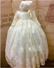 Wholesale classy girls - Classy 2018 Pearls Christening Gowns For Baby Girls Long Sleeve Lace Appliqued Baptism Dresses With Bonnet First Communication Dress