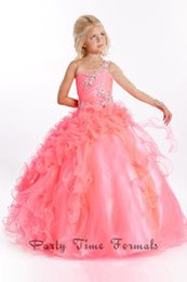Wholesale Discount Pageant Prom Dresses - 2015 Custom Made Ball Gown One Long Sleeve Puffy Pageant Girls Dresses Sweep Train Organza Discount Flower Girls Dresses For Party Prom