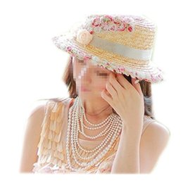 Wholesale Hats H - Wholesale-Sun Hat Straw Beach Headwear Cap Bohemia Wide Large Brim The new wave of female factory summer flowers large brimmed straw sun h