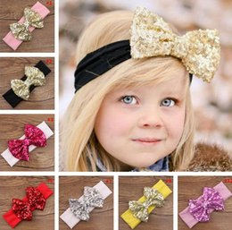 Wholesale Solid Red Baby Top - Big Sequin Bow Baby Girl Cotton Headbands Children Kids Turban Head Wraps Jersey Top Knot Kids Accessory 10pcs lot TS-15064