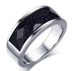 Wholesale Rhombus Ring - New Design High Quality High Polished Silver Stainless Steel Fashion Rhombus royalblue Gravel Arenaceous Texture Band Ring Women Men Gift