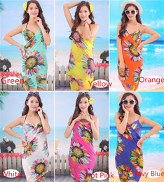 Wholesale Wholesale Floral Dresses - 2017 Summer Women Sexy Swimwear Open-Back Wrap Front Cover Up Sunscreen Beach Towels Chiffon Shwal Sunflower Saia Bikini 10Pcs Lot
