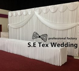 Wholesale Curtain Backdrops For Weddings - Whole Set 10ft by 20ft Ice Silk Wedding Backdrop Curtain \ Stage Background Include Drape Swag With Pipe Stand For Wedding Event Decoration