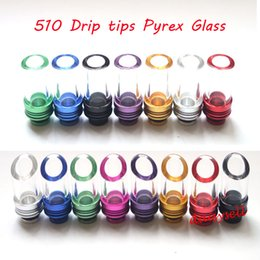 Wholesale Drip Tip Kanger Protank - Colorful 510 Drip Tips Pyrex Glass Stainless Steel Drip Tip Mouthpiece for ego WAX Patriot Kanger Protank Aspire Atomizer