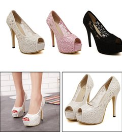 Wholesale High Heel Pumps For Cheap - In Stock 2015 Luxury Peep Toe Pink Black White lace bridal shoes 12CM High heel wedding shoes for bride accessories Cheap