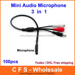 Wholesale Security Cctv Microphone - 100pcs Audio pick up CCTV Microphone Wide Range Camera Mic Audio Mini Microphone with DC Output for CCTV Security free shipping