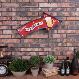 Wholesale Beer Sign Led - Wholesale- Nostalgia Beer Arrows Neon Sign Decorative Painting Bar Pub Cafe House LED Iron Wall Ornament Metal AD Signs