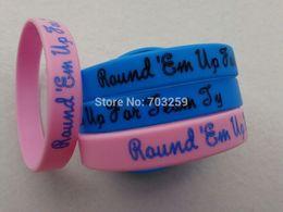 Wholesale Custom Wrist Bracelets - Wholesale-500pcs custom writing caoutchouc silicone bracelet promotional name wrist bands EG-WBP001 gel armbands with solid colour design