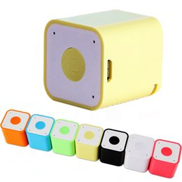 Wholesale Small Wireless Speaker For Phone - Mini Square Bluetooth Speaker Smart Box Portable Handfree Colorful Small Outdoor Sound Box For Mobile Phone DHL Free MIS120