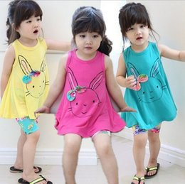 Wholesale Girl Giraffe - 2015 Baby Girl Long T-shirt Girls Shirts Giraffe T-shirt Dress Lovely Rabbit Shirt Sleeveless Cotton Long Style Tee Top Dresses