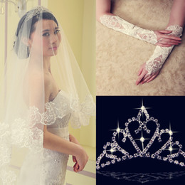 Wholesale Wedding Veil Pieces - Best Selling 2014 3 Pieces Lace Appliqued Wedding Veils Comb With Crown Half Gloves Free Shipping