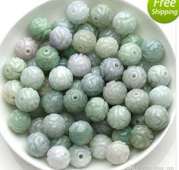 Material moldeado online-Materiales de jade de cuentas de esmeralda venta al por mayor de bricolaje a mano con cuentas de jade tallado accesorios de joyería de cuentas de jade