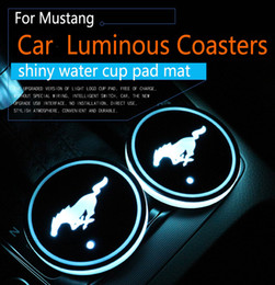 Wholesale Door Logo Led - 2Pcs set Ford Mustang Logo badge Car Led Shiny Water Cup Pad Groove Mat Luminous Coasters Atmosphere Light