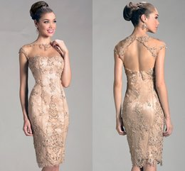 Wholesale Sleeve Crystal Cocktail Dress - 2017 Janique Evening Dresses Hot Selling Jewel Sexy Sheath Sparkling Beaded Champagne Knee-Length Cocktail Dresses Party Short Evening Wear