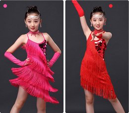 Wholesale Kids Tango Dresses - Girls Kids Latin Dance Dress Salsa Tango Ballroom Competition Sequined Tassels Dancwear Costumes 4 Colors