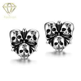 Wholesale Unique Earrings Punk Studs - New Arrival Punk Style The Ancient Maya Unique Personalized 3 Skulls Fashion Jewelry Unisex Stud Earrings Halloween Gift