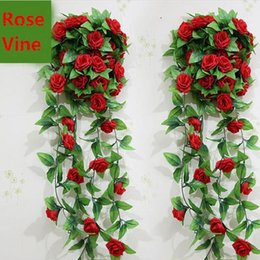 Wholesale Wisteria Home Decor - 2.4 M Extra Long Artificial Silk Crimping Rose Flower Vine Wisteria Garland Wedding Home Decor Rattan Free Shipping