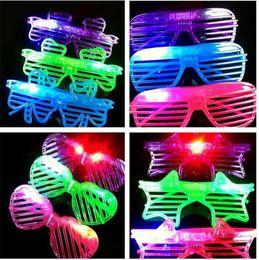 Wholesale Shutter Party Sunglasses - 100pcs HOT LED Light Glasses Flashing Shutters Shape Glasses Flash Glasses Sunglasses Dances Party Supplies Festival Decoration D603