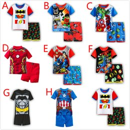 Wholesale Kids Shorts Pattern - Summer Children Kids Pajamas Clothing Sets Boys Cartoon Pattern Short Sleeve Tops Shorts 2PCS Outfits Cotton T-shirts Short Pants Suits 2-7Y